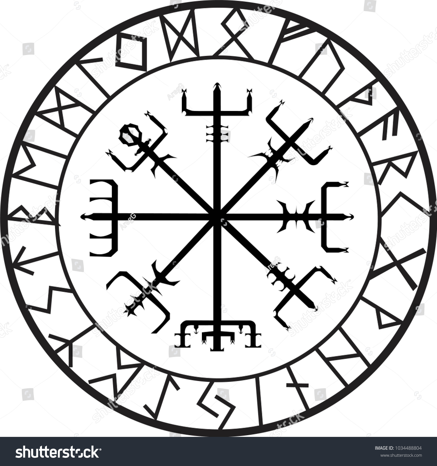 Norse Protection Rune Tattoo Stock Vector Royalty Free 1034488804