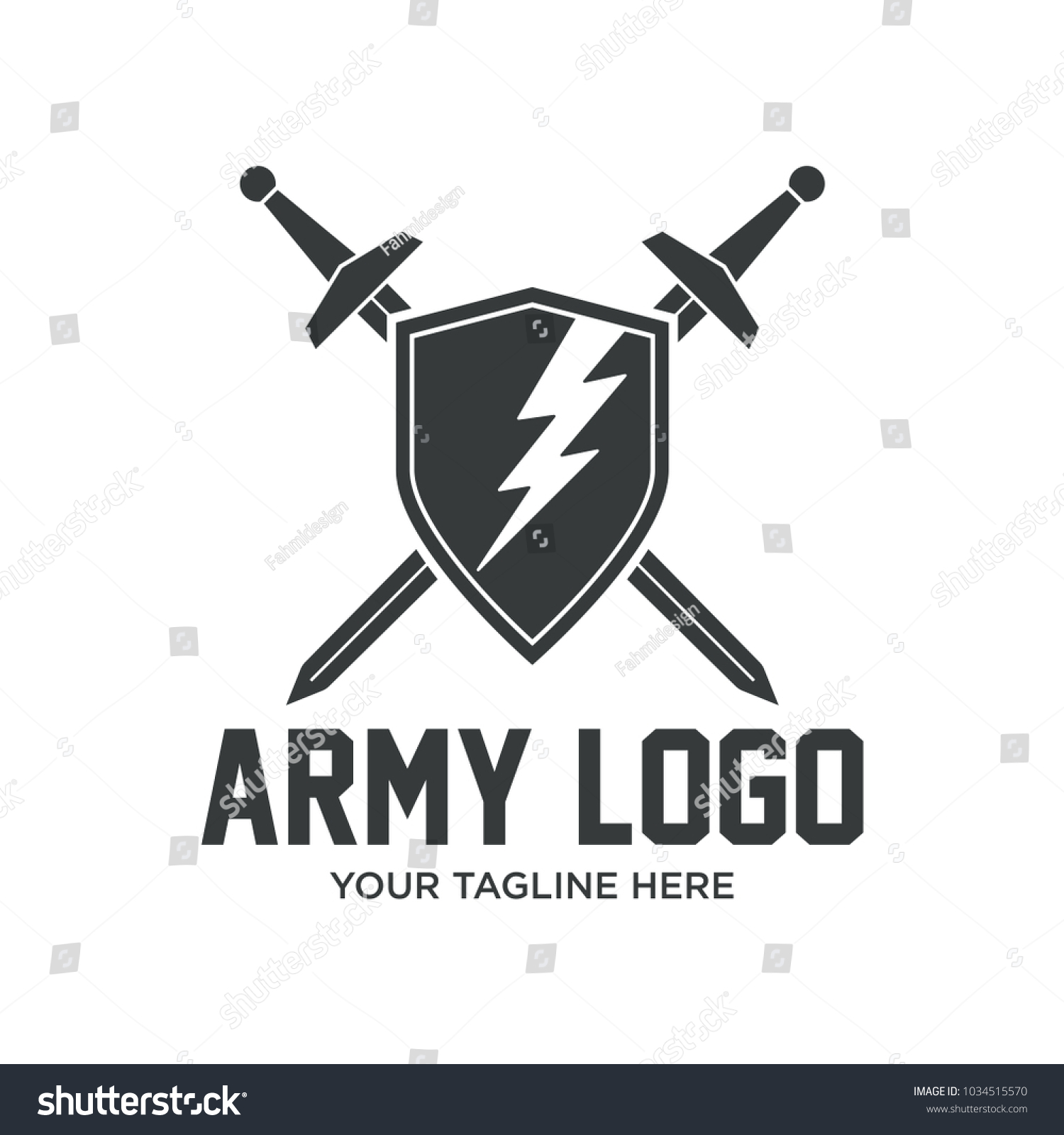 Military Symbol Bold Army Icon Logos Stock Vector 1034515570