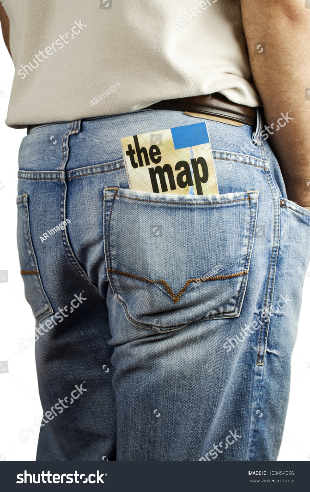 Man Standing With Travel Map In Back Pocket Of Denim Blue Jeans With Copy Space. Stock Photo ...
