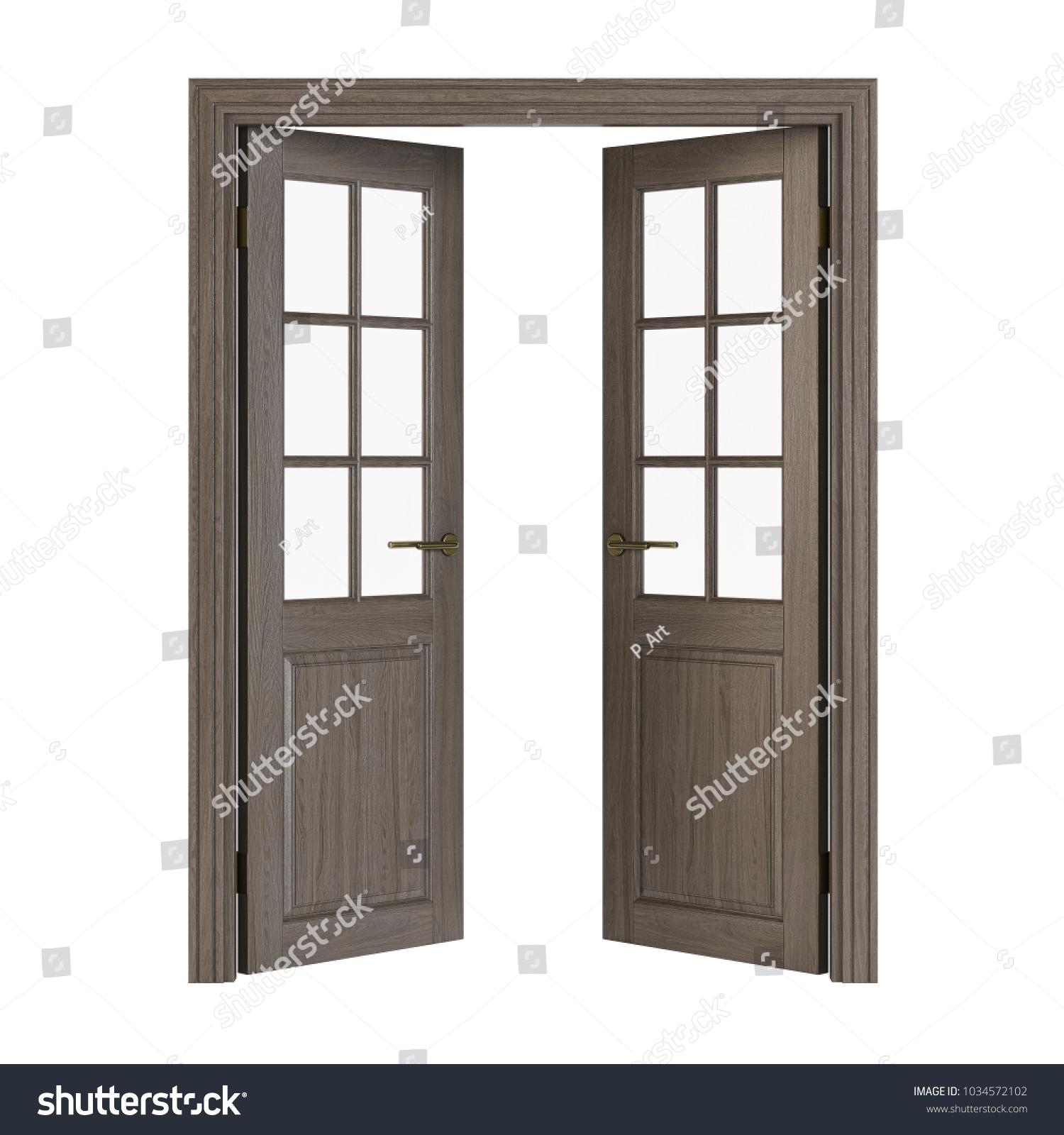 Doubleleaf Doors Glass Interior Doors Isolated Stock Illustration