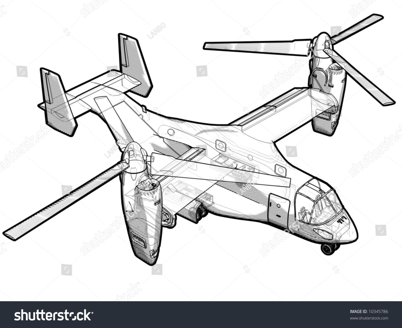 Technical Illustration V22 Helicopter Stock Illustration