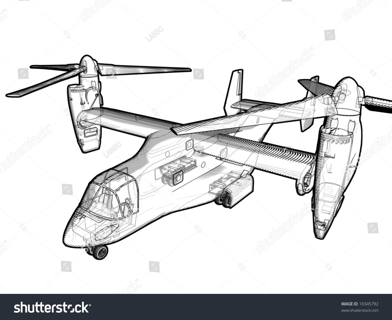 Technical Illustration V 22 Helicopter Stock 10345792 Osprey Engine Diagram A Of