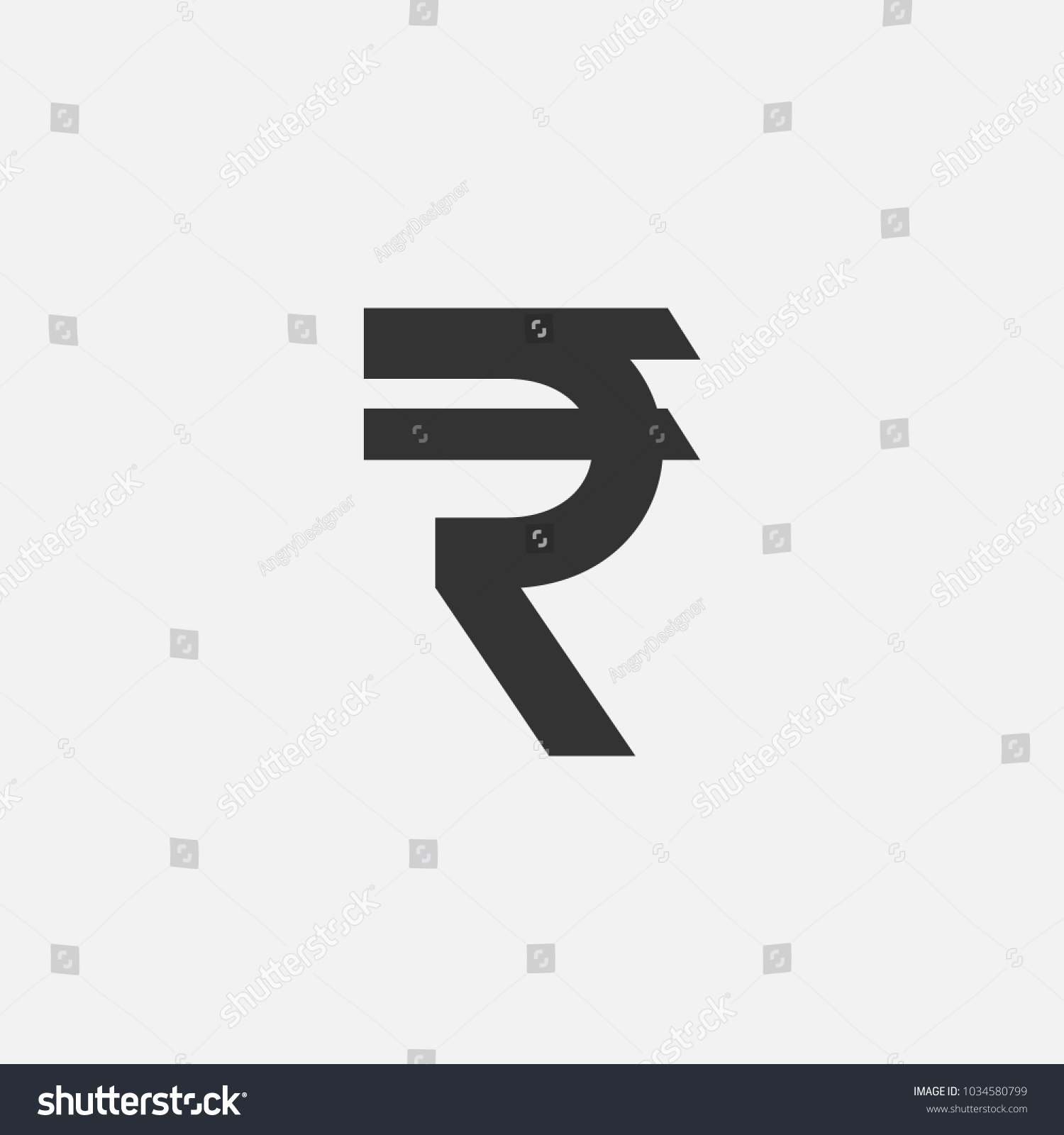 Symbol Currency Indian Rupee Vector Illustration Stock Vector