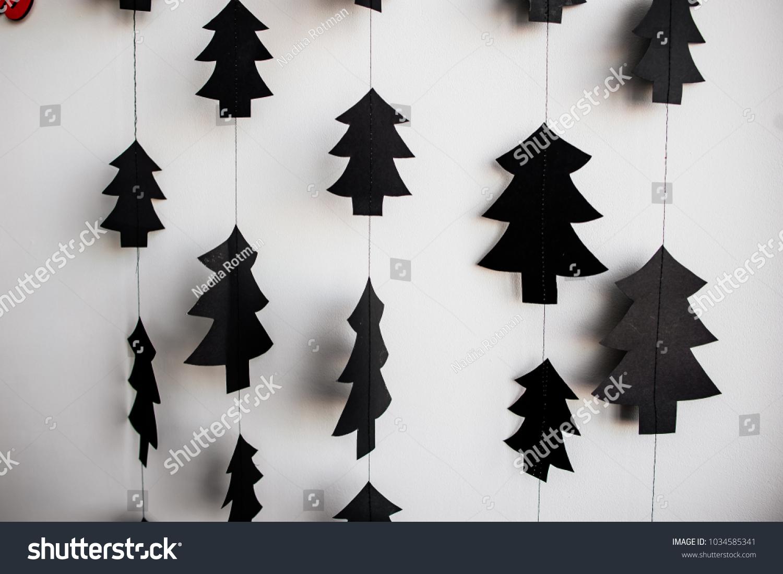 Small Christmas Tree Ornaments Black Christmas Stock Photo Edit Now 1034585341