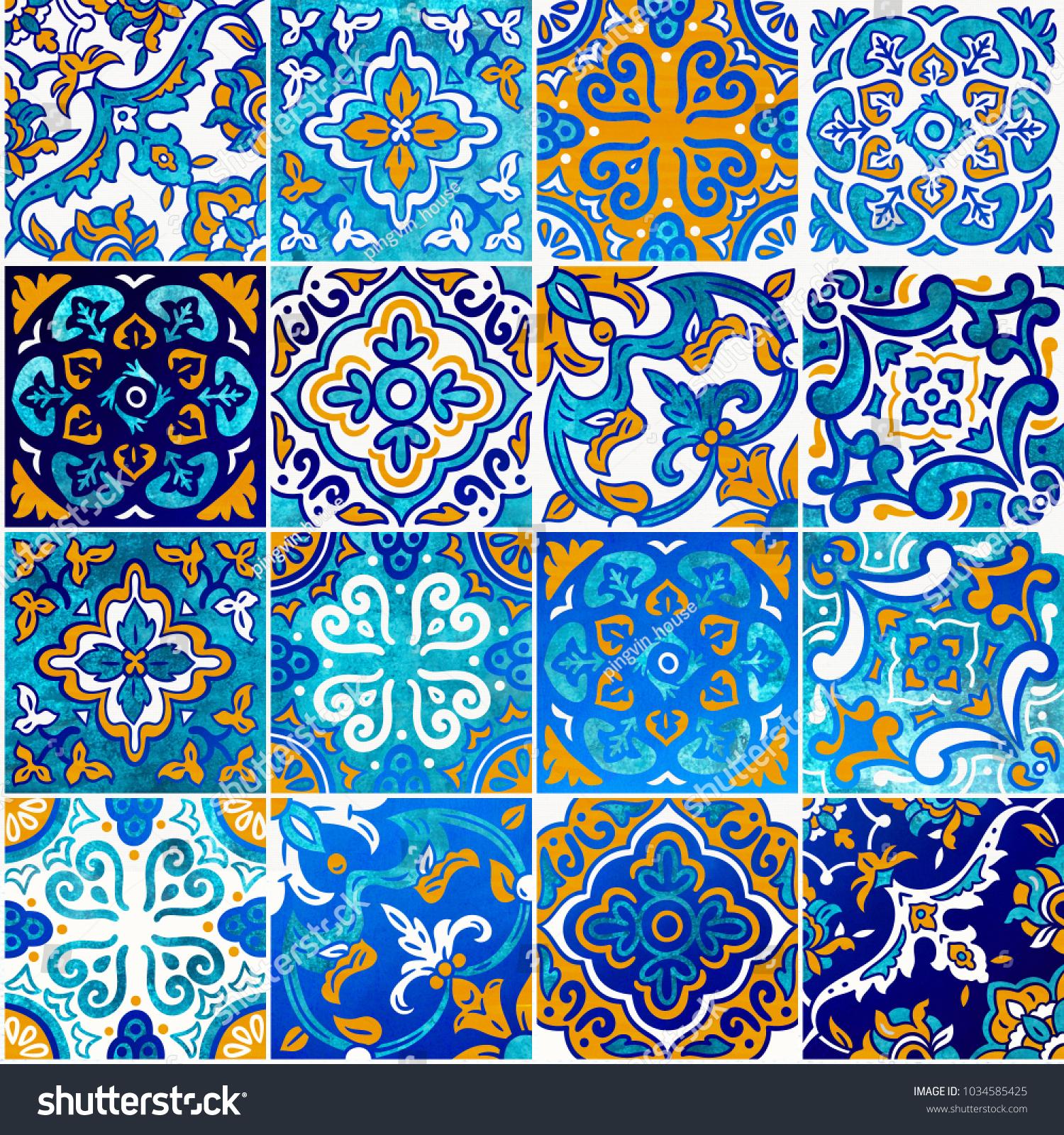 Orange Blue Shiny Ceramic Tile Colorful Stock Illustration ...