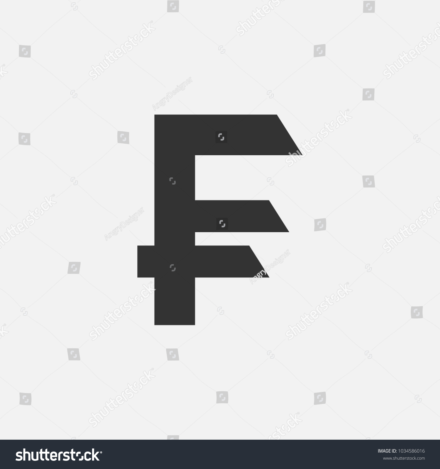 Currency Symbol French Franc Vector Illustration Stock Vector