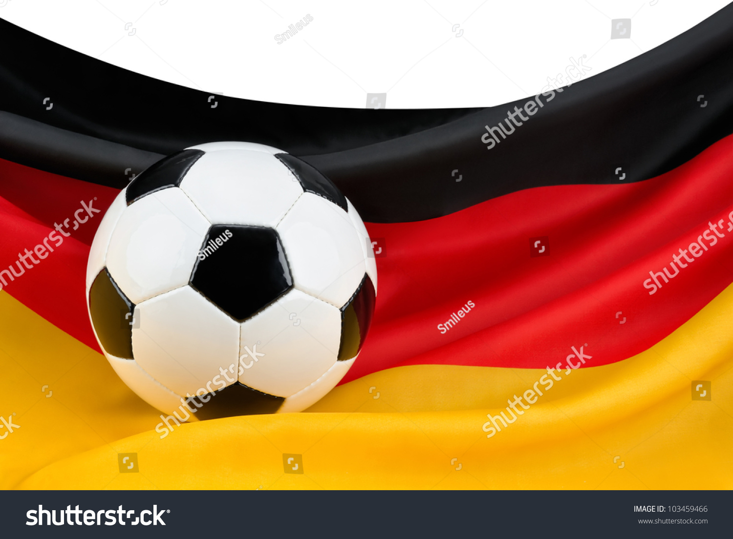 Soccer ball on nicely hanging german stock photo 103459466 soccer ball on a nicely hanging german flag as a symbol for germanys passion for football buycottarizona