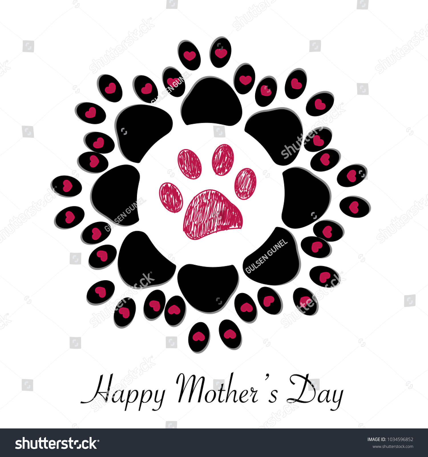 Flower made paw print hearts happy stock vector 1034596852 flower made of paw print with hearts and happy mothers day text kristyandbryce Choice Image