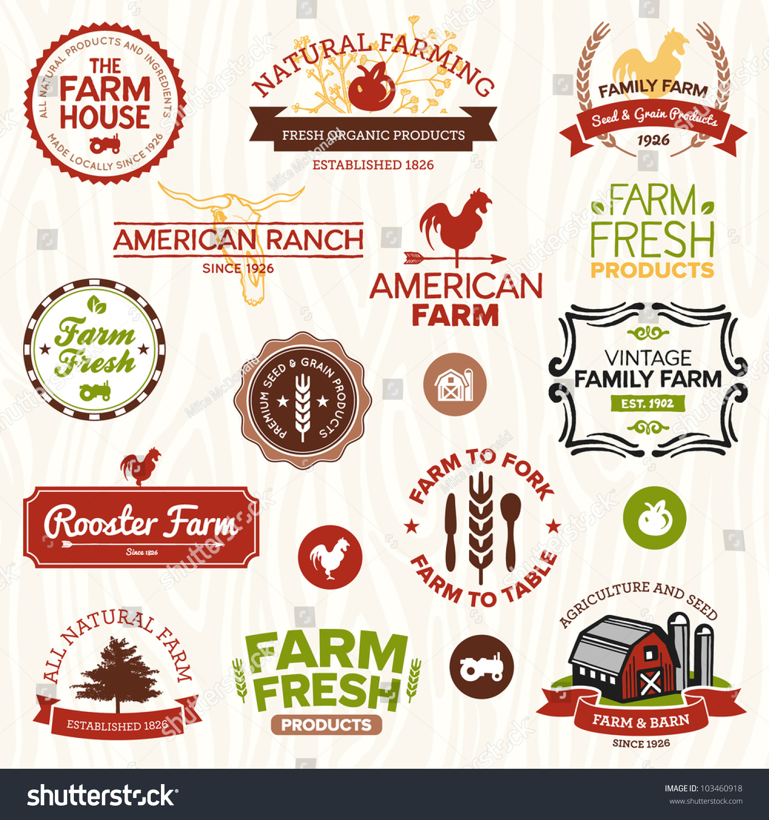 Set Vintage Modern Farm Logo Labels Stock Vector 103460918