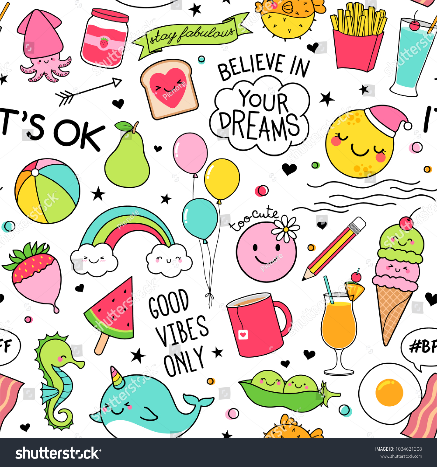 Cute Fun Doodles Seamless Pattern On Stock Vector Royalty Free 1034621308