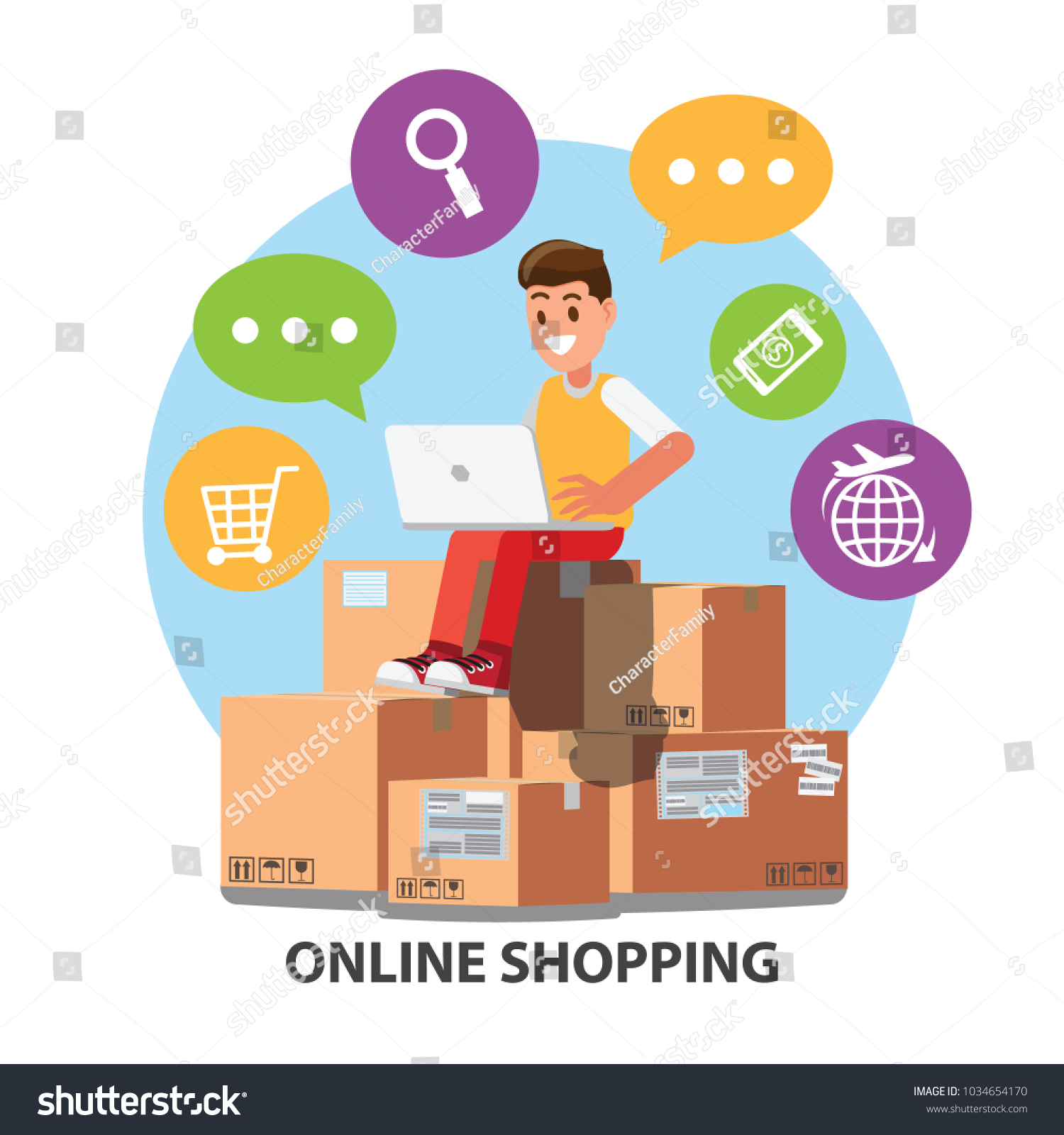Businessman Character Design Ecommerce Online Shopping Stock Vector