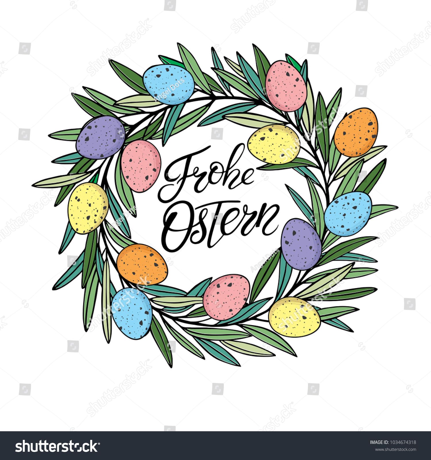 Easter Wreath Colororful Quail Eggs Vector Stock Vector Royalty