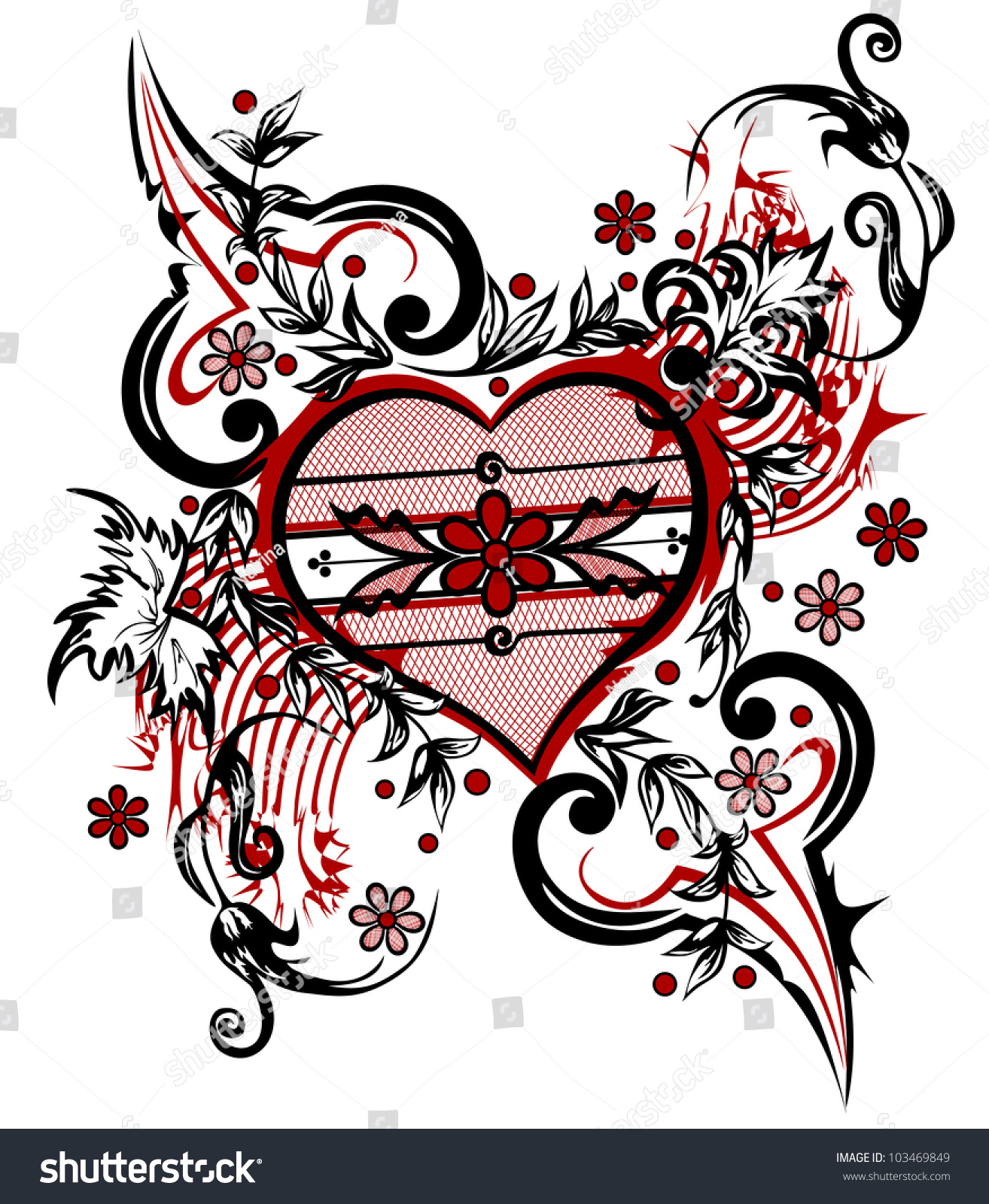 Abstract Drawing Heart Valentine Background Valentines Stock Vector