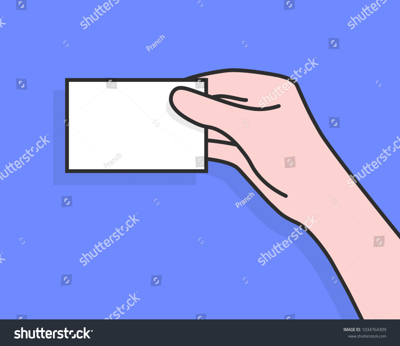 Business Card Cartoon Woman Hand Flat Stock Vector 1034764309 ...
