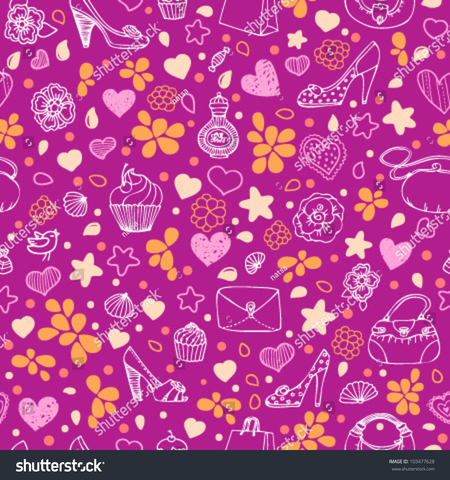 purple girly seamless pattern