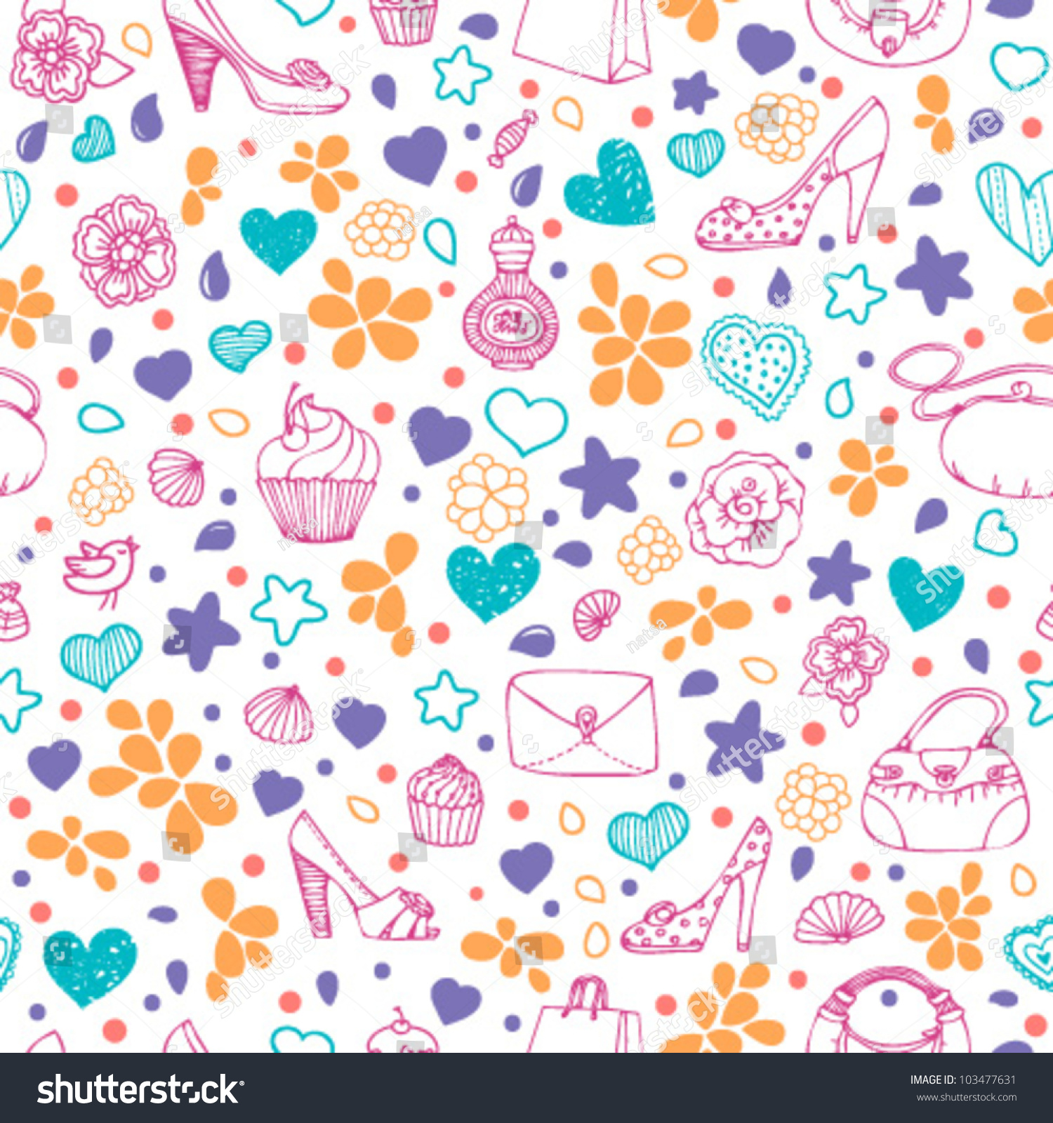 Bright Colorful Girly Seamless Pattern Stock Vector 103477631 ...