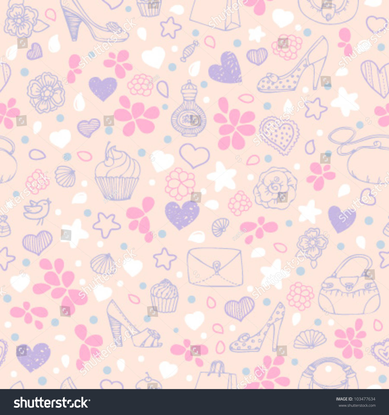 Love Girly Seamless Pattern Pink Violet Stock Vector 103477634 ...