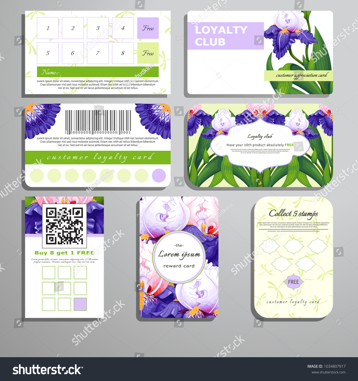 Set loyalty cards pattern iris flowers stock vector 1034807917 pattern of iris flowers and dragonflies place for your text izmirmasajfo