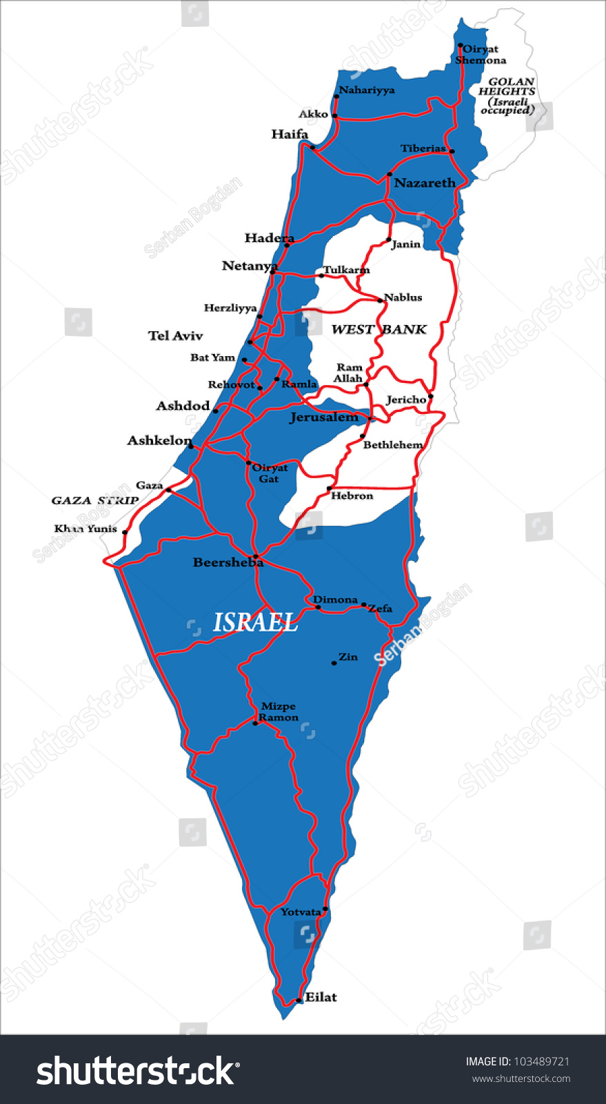 Israel Map Isolated Stock Vector 103489721 Shutterstock