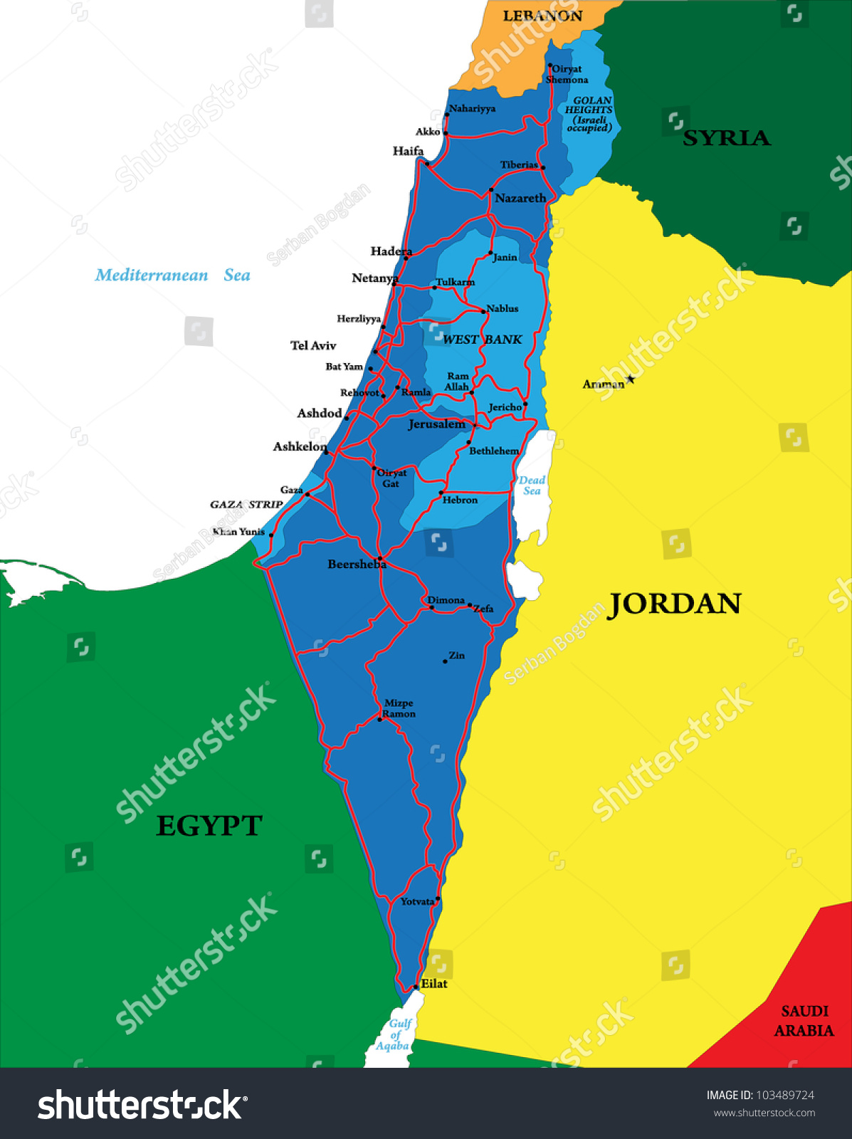 Israel Map Stock Vector 103489724 Shutterstock