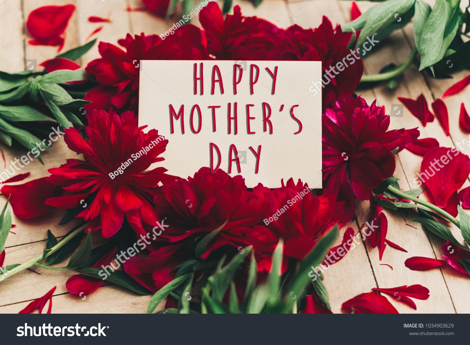 Happy mothers day text sign on stock photo 1034903629 shutterstock happy mothers day text sign on craft paper card beautiful red peonies on wooden rustic background kristyandbryce Choice Image