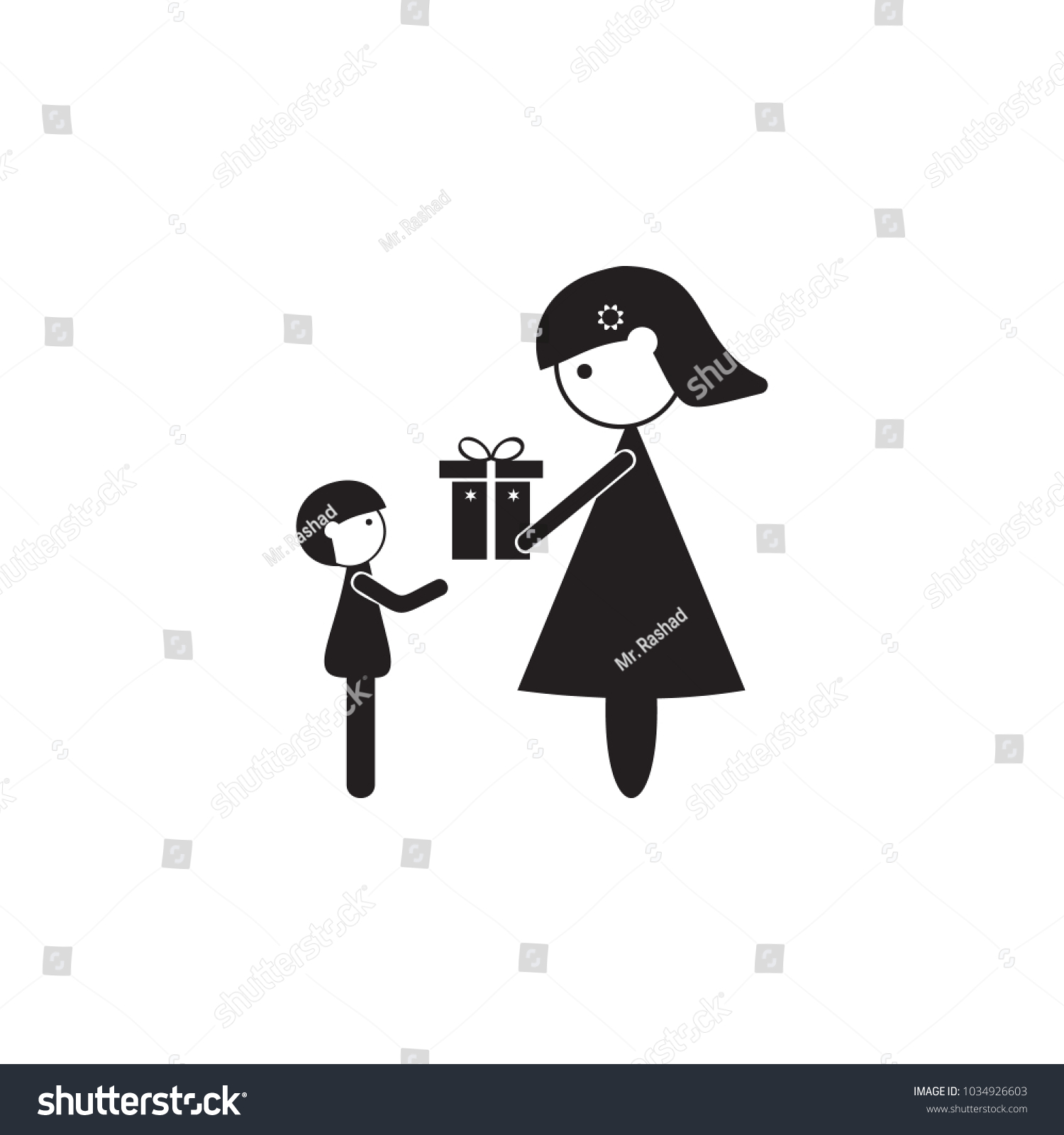 Mother Gives Gift Her Son Icon Stock Vector 1034926603 Shutterstock