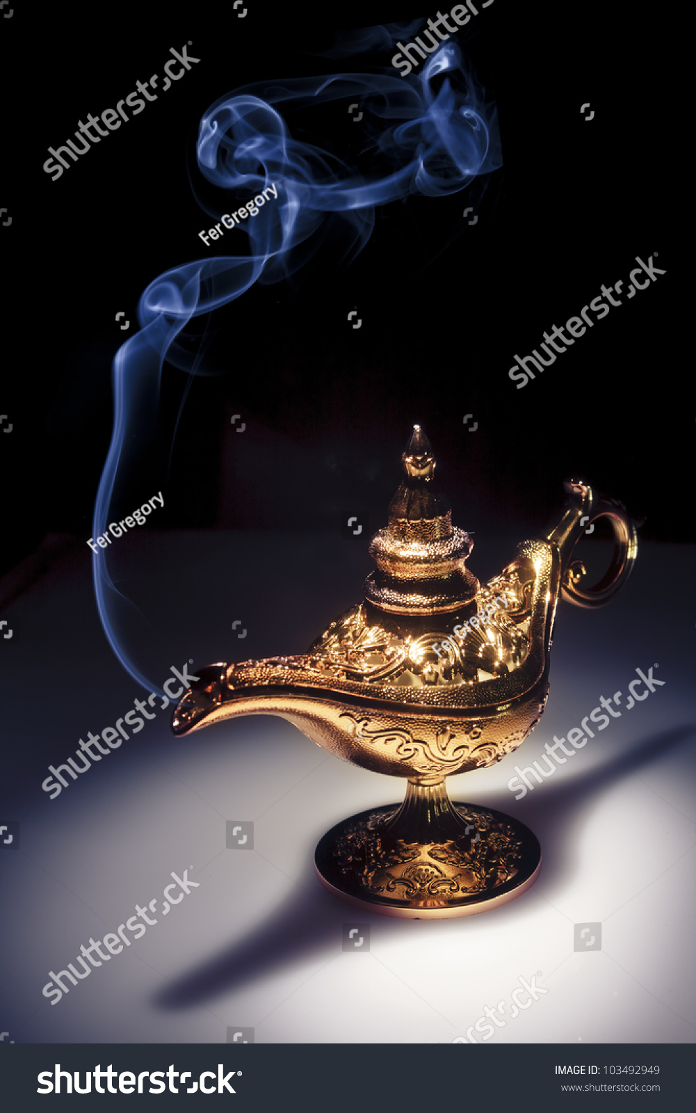 Aladdin Magic Lamp On Black Smoke Stock Photo 103492949 - Shutterstock for Magic Lamp With Smoke  585ifm