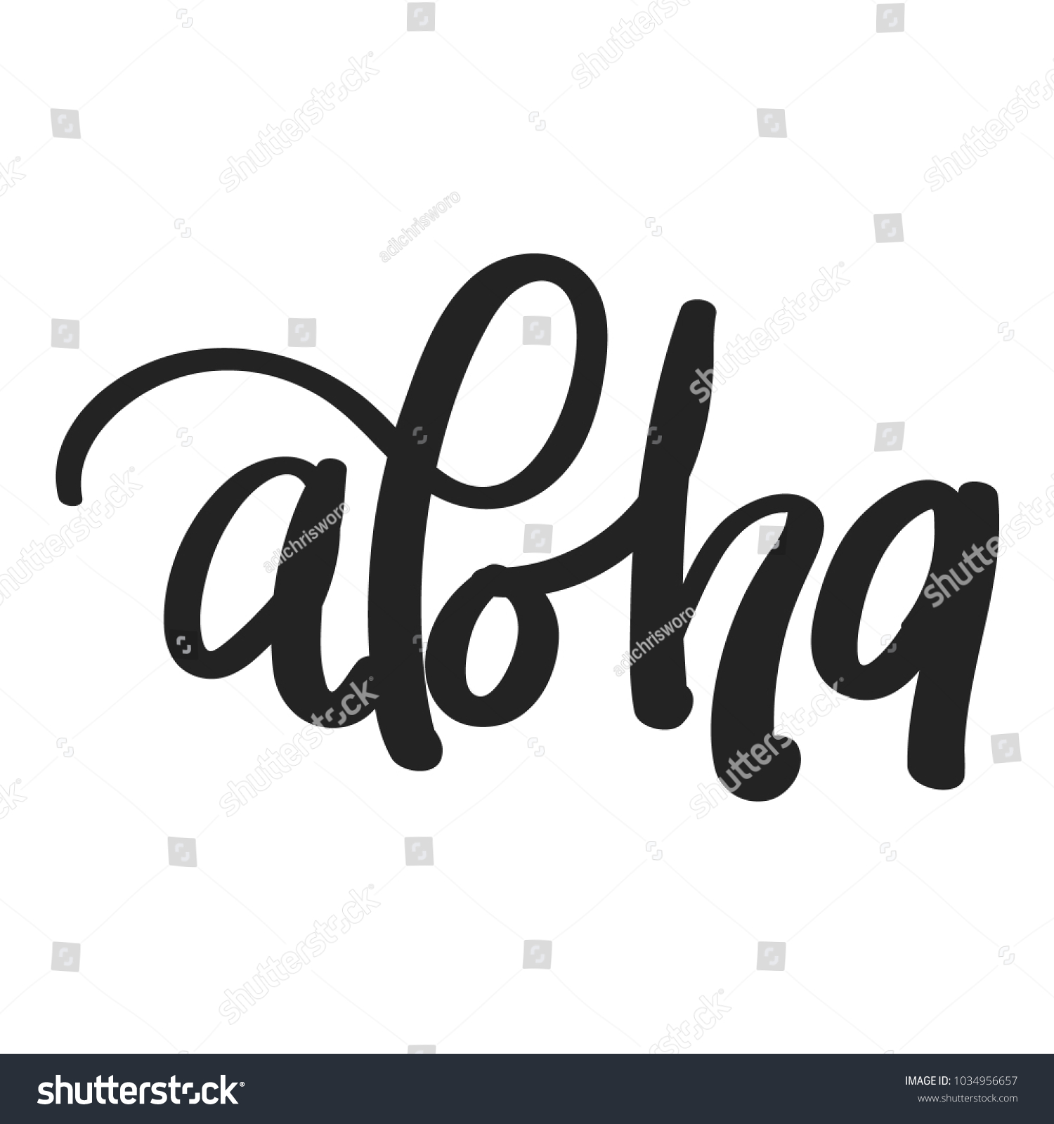 Aloha Hand Lettering Greeting Hawaii Language Stock Vector Royalty