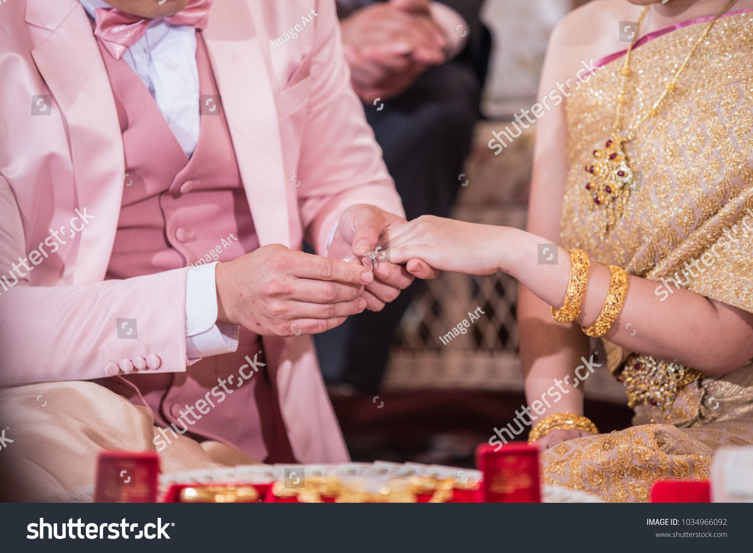 Men Beautiful Gold Dress Wearing Ring Stock Photo (Royalty Free ...