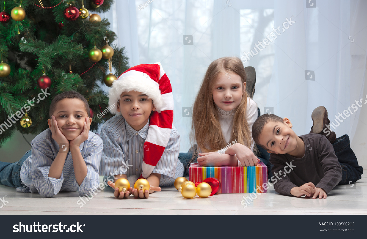 Happy Children Holding Christmas Gifts Sitting Stock Photo (Edit Now ...