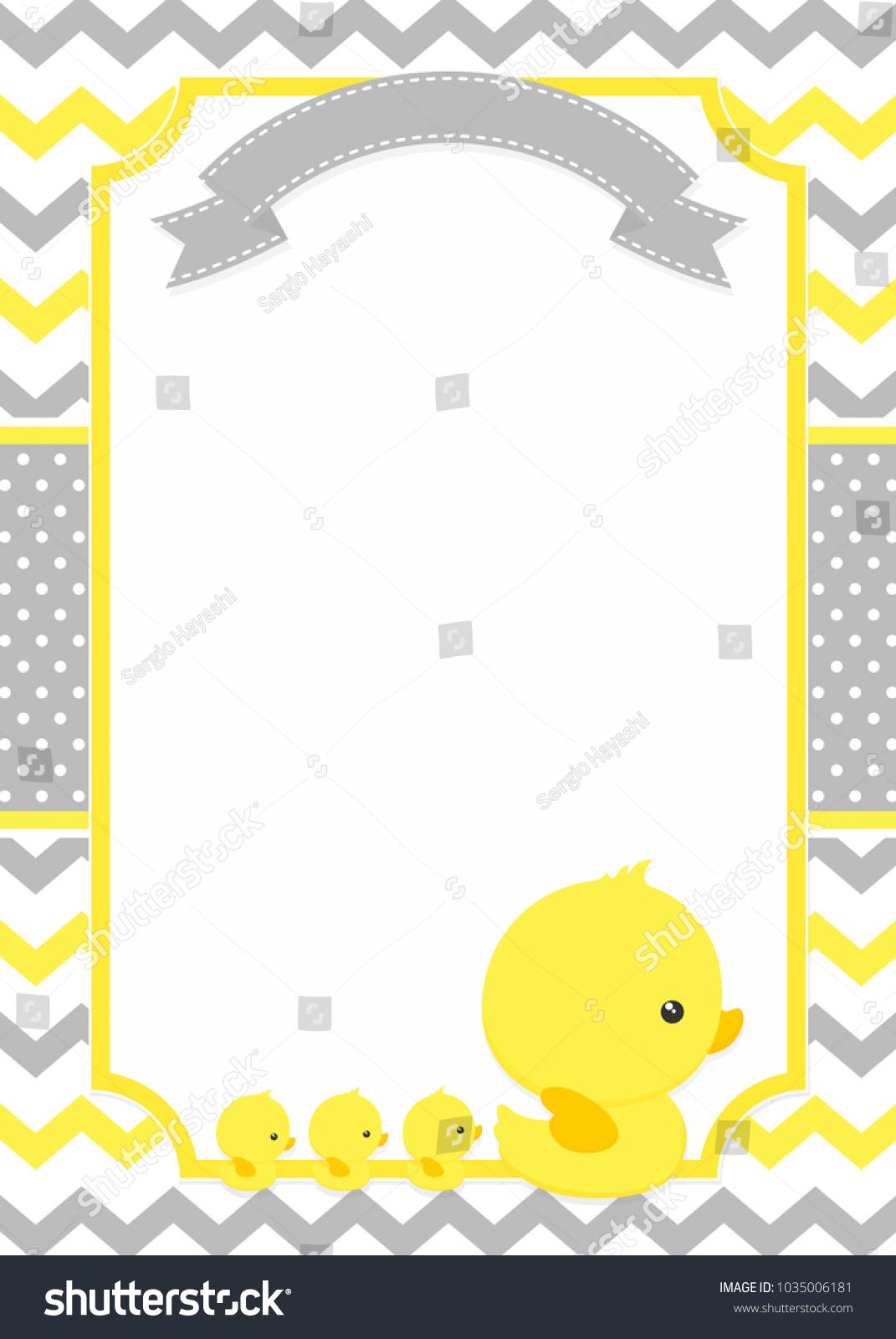 Baby shower invitation cute duck mom stock vector 1035006181 baby shower invitation with cute duck mom and baby ducks on chevron pattern and polka dots stopboris Images