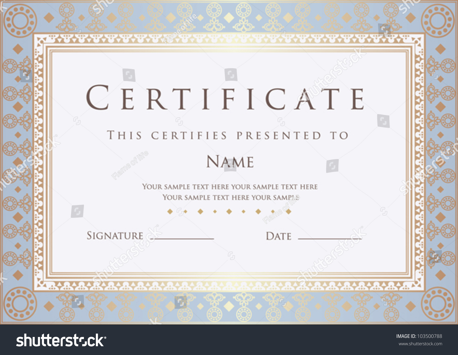 Horizontal Certificate Completion Template Golden Floral – Official Certificate Template