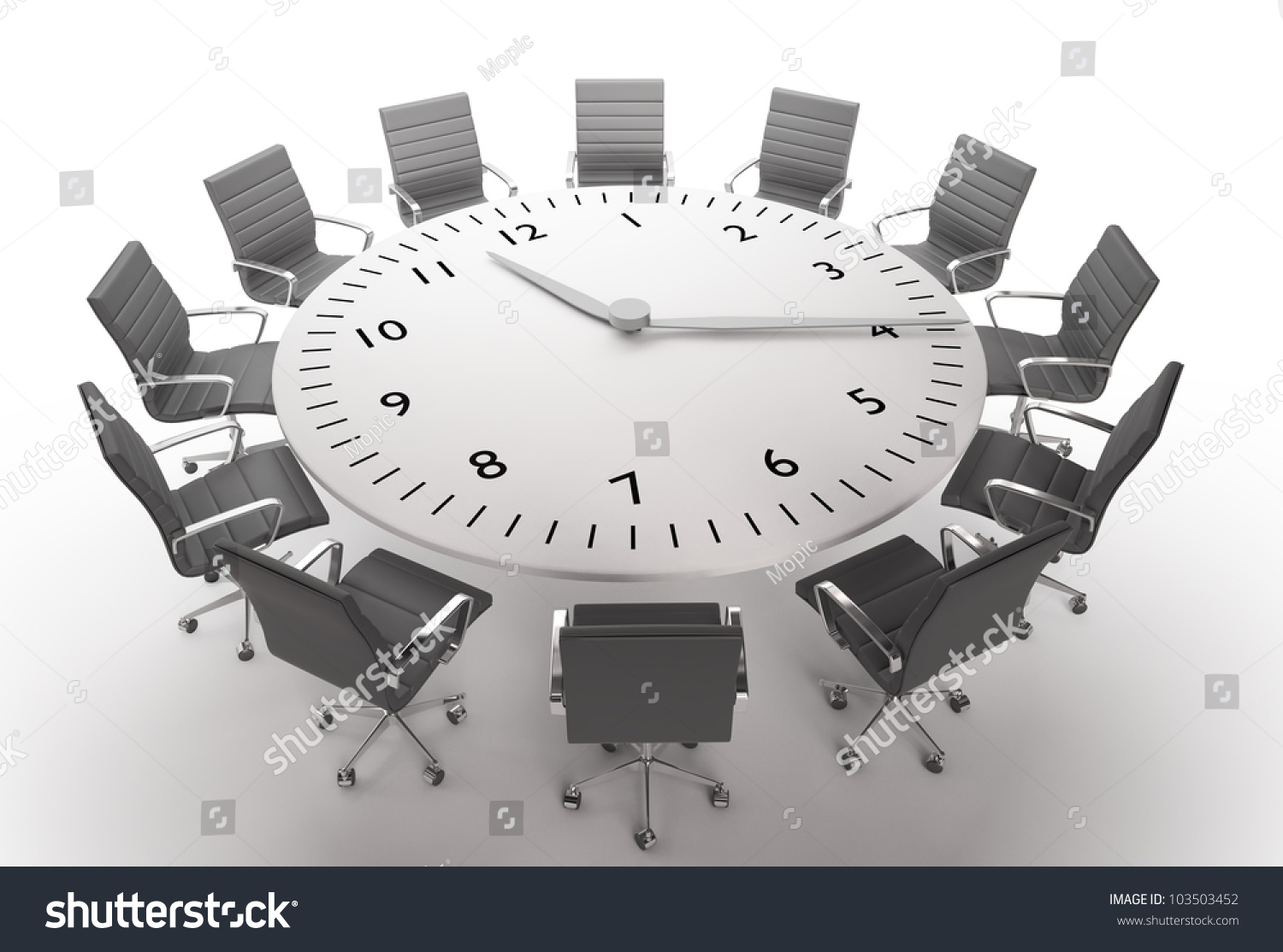 Round table meeting icon - Meeting Time Round Table With A Large Clock Face
