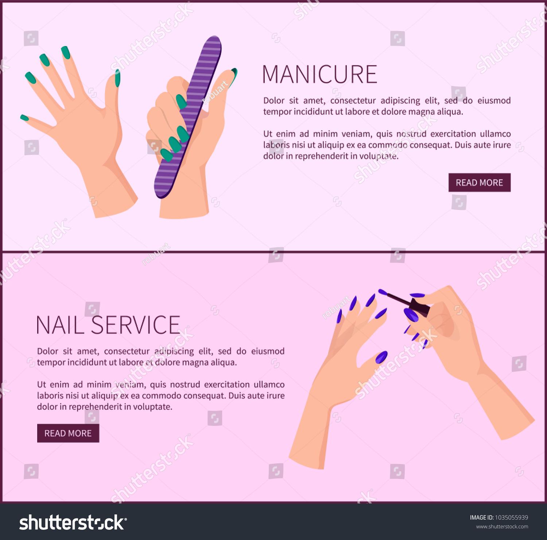 Manicure Nail Service Promotional Internet Posters Vector de ...