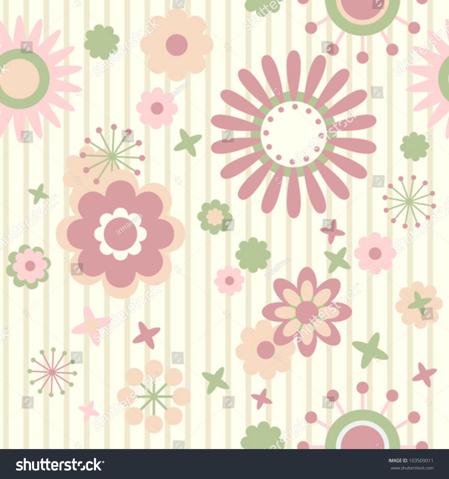 Striped Floral Wallpaper Stock Vector Royalty Free 103509011