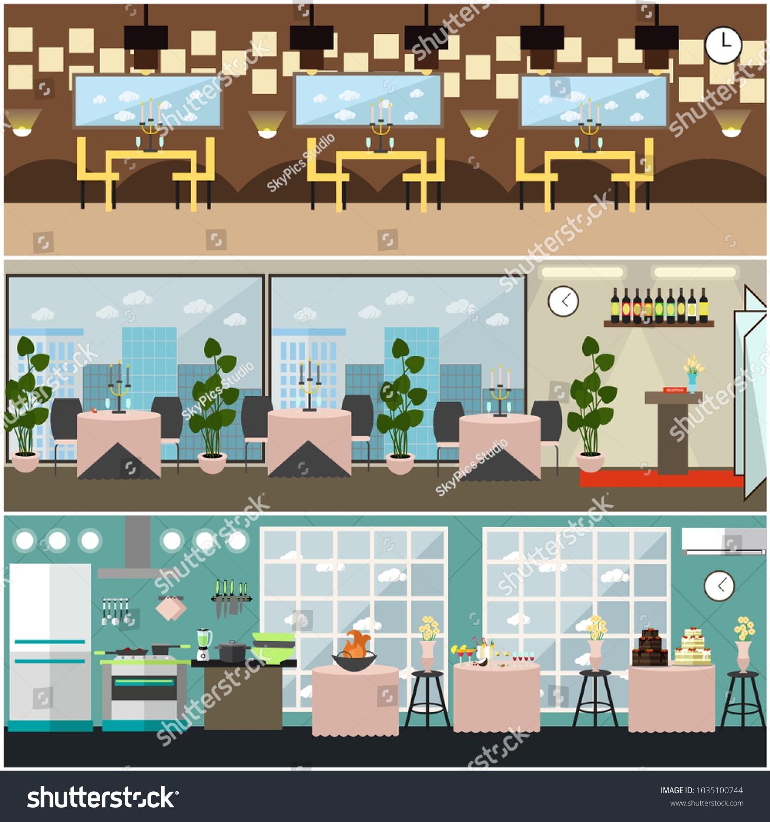 Restaurant Interior Set Kitchen Banquet Hall Stock Illustration ...