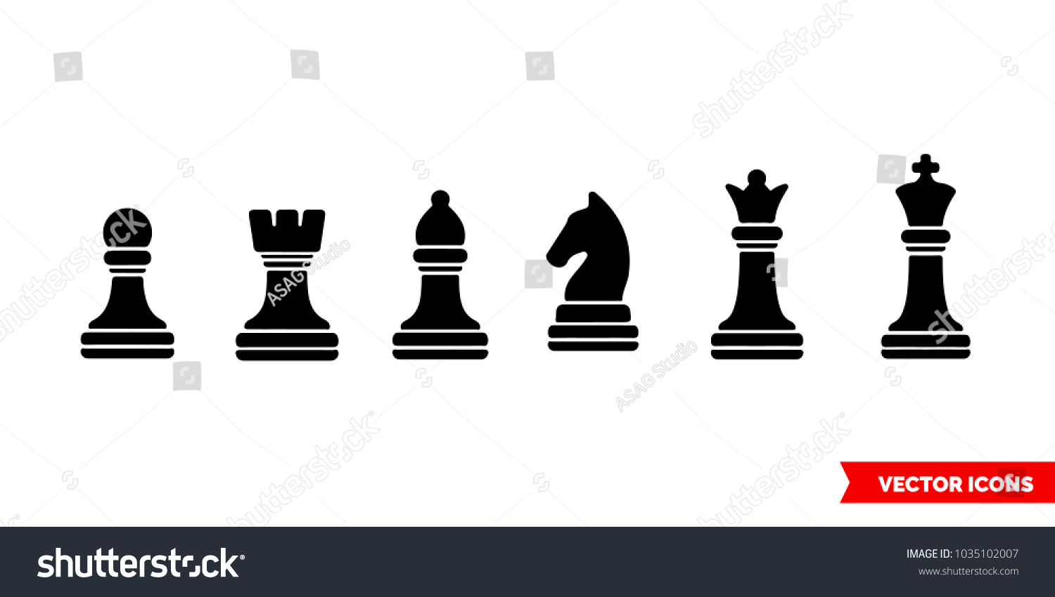 Set chess symbols black icon 3 stock vector 1035102007 shutterstock set of a chess symbols black icon of 3 types color black and white biocorpaavc Gallery