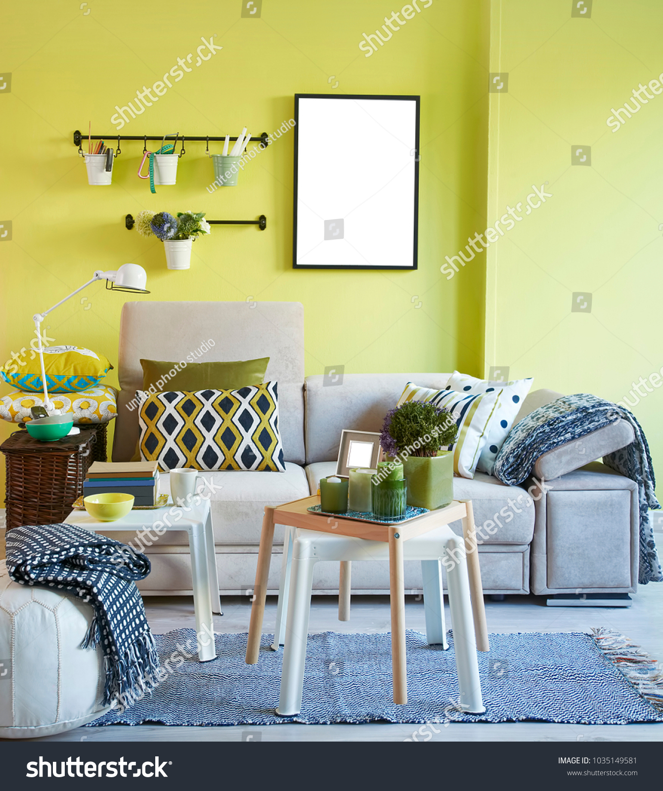 Green Wall Grey Sofa Interior Decoration Stock Photo (Edit Now ...