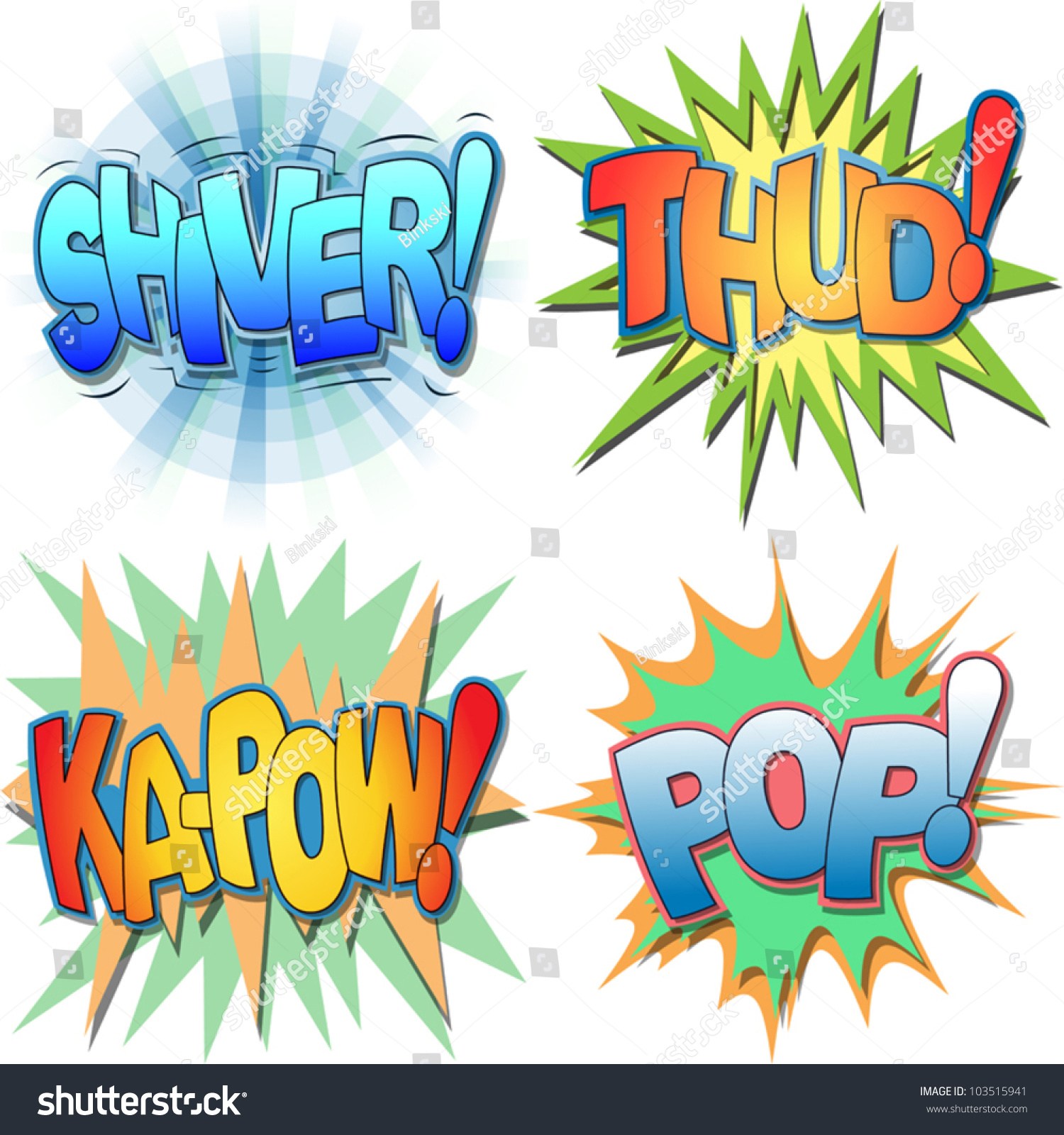 selection comic book exclamations action words stock vector a selection of comic book exclamations and action words shiver thud ka