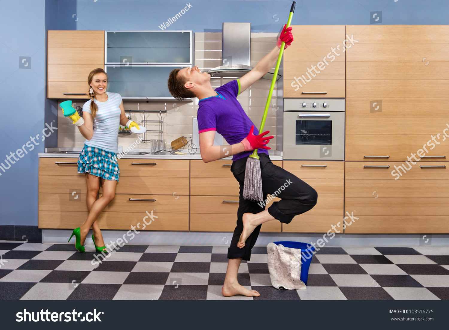 Kitchen Floor Mops Modern Kitchen Woman Sponge Smiling Young Stock Photo 103516775