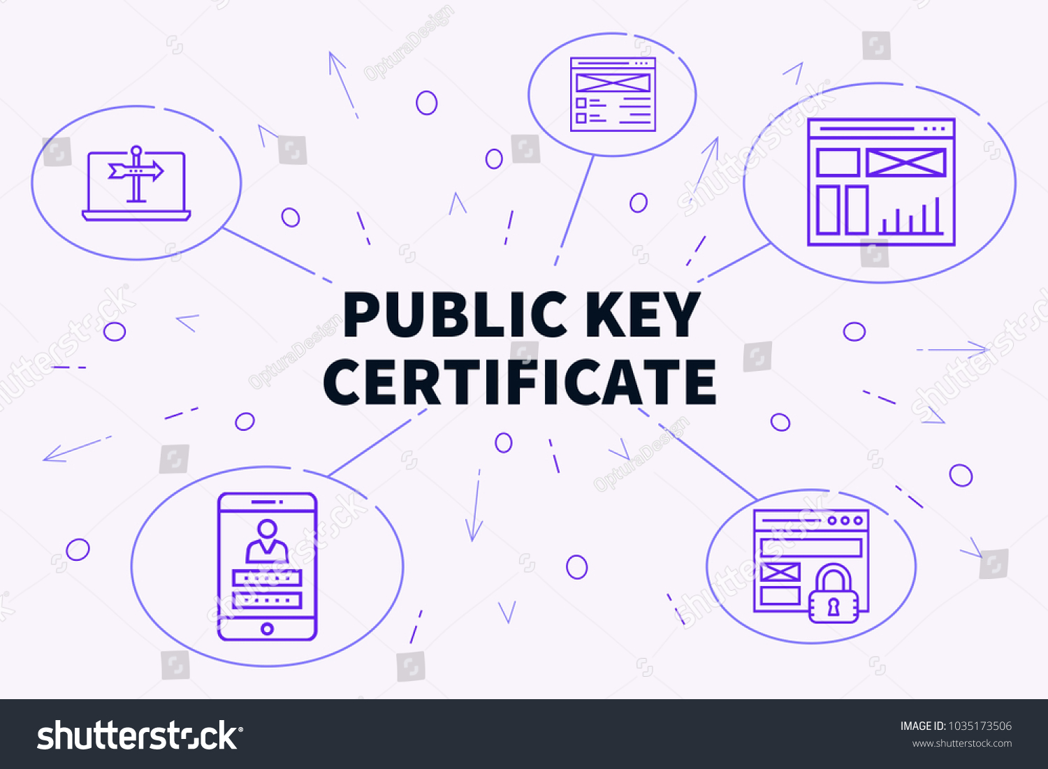 Conceptual Business Illustration Words Public Key Stock Illustration