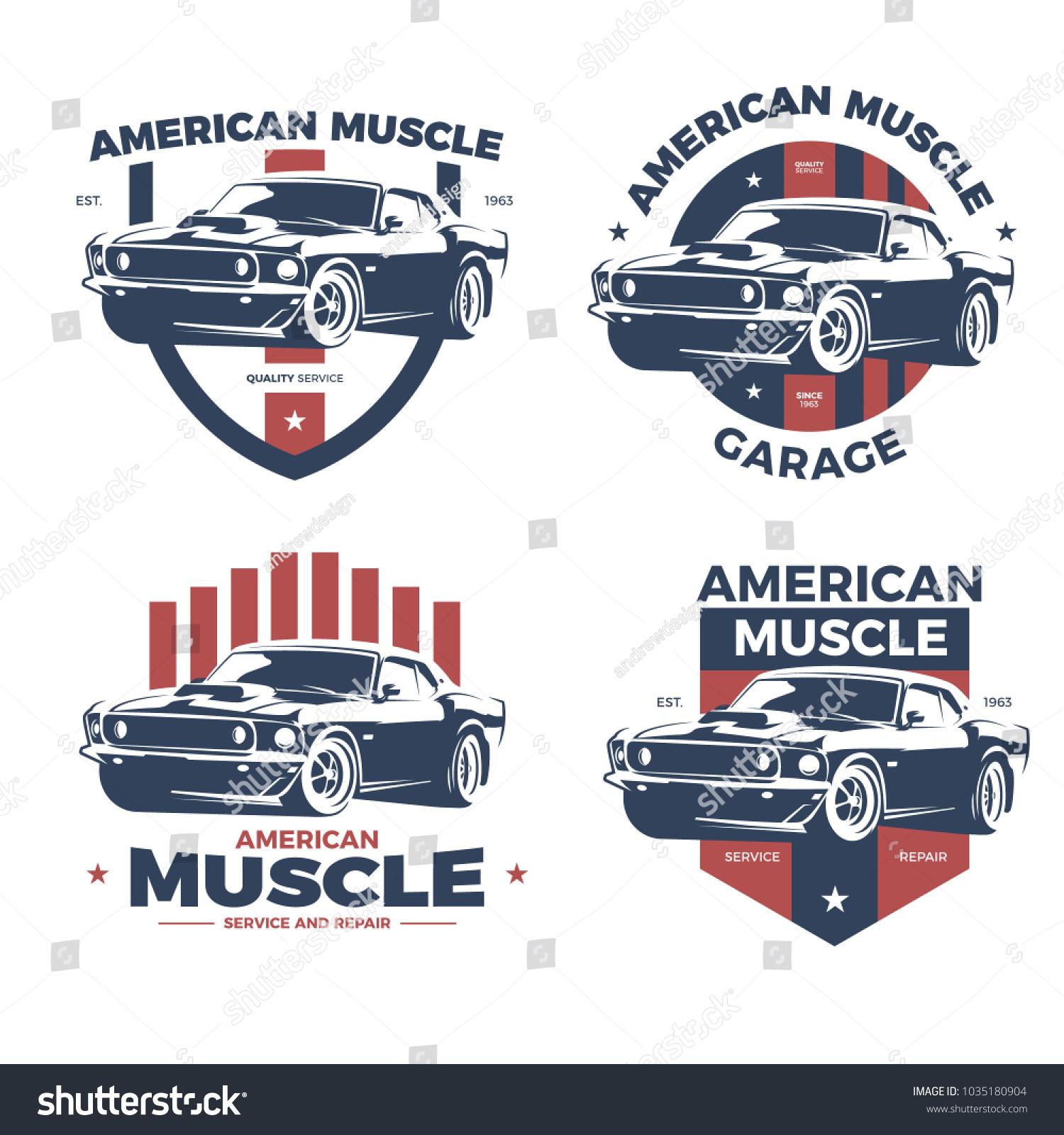 American Muscle Car Repair Service Logo Stock Vector 1035180904 ...