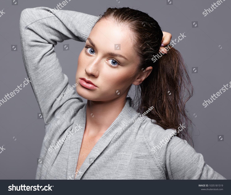 Beauty Portrait Young Woman Gray Dress Stock Photo Edit Now