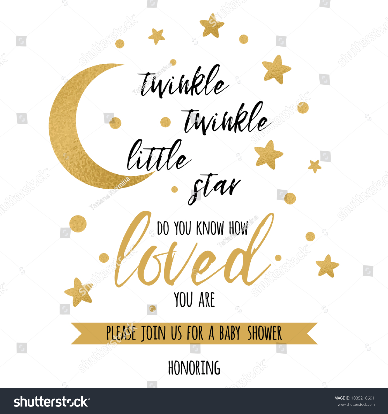 twinkle twinkle little star text with cute gold star and moon for girl baby shower card