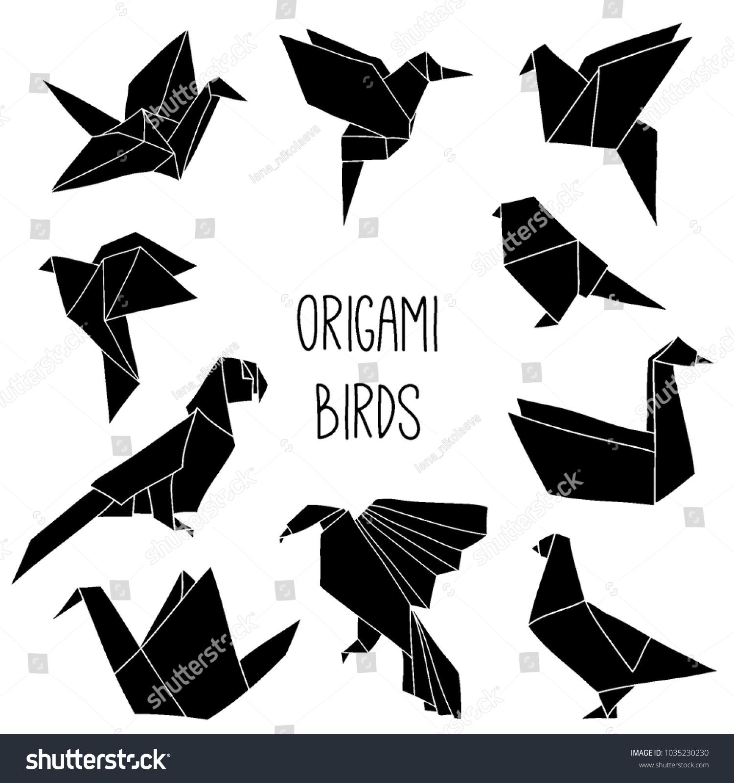 Cute Collection 10 Black Origami Bird Stock Vector Royalty Free