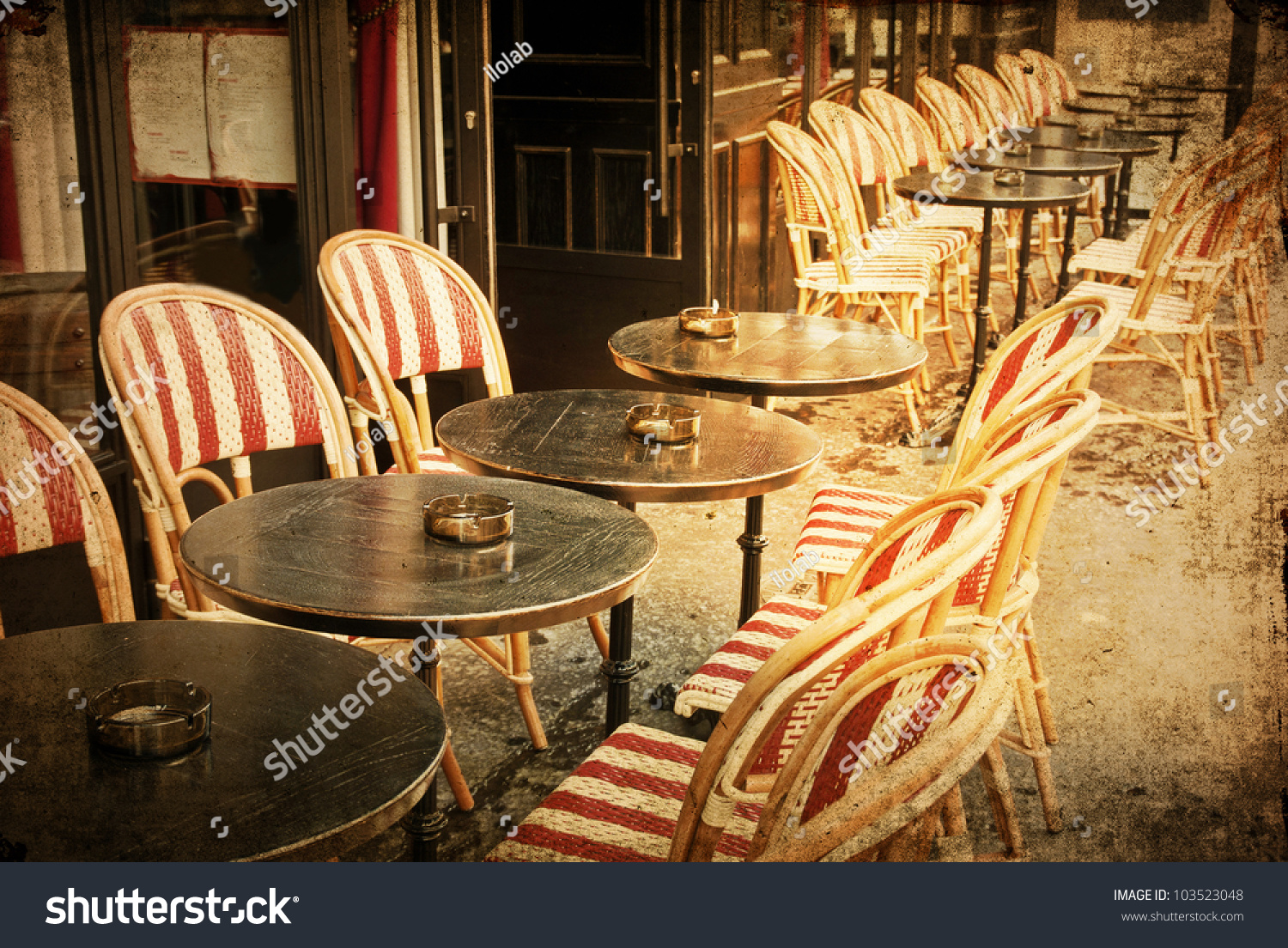 Old Fashioned Coffee Terrace With Tables And Chairs Paris France Stock Photo 103523048