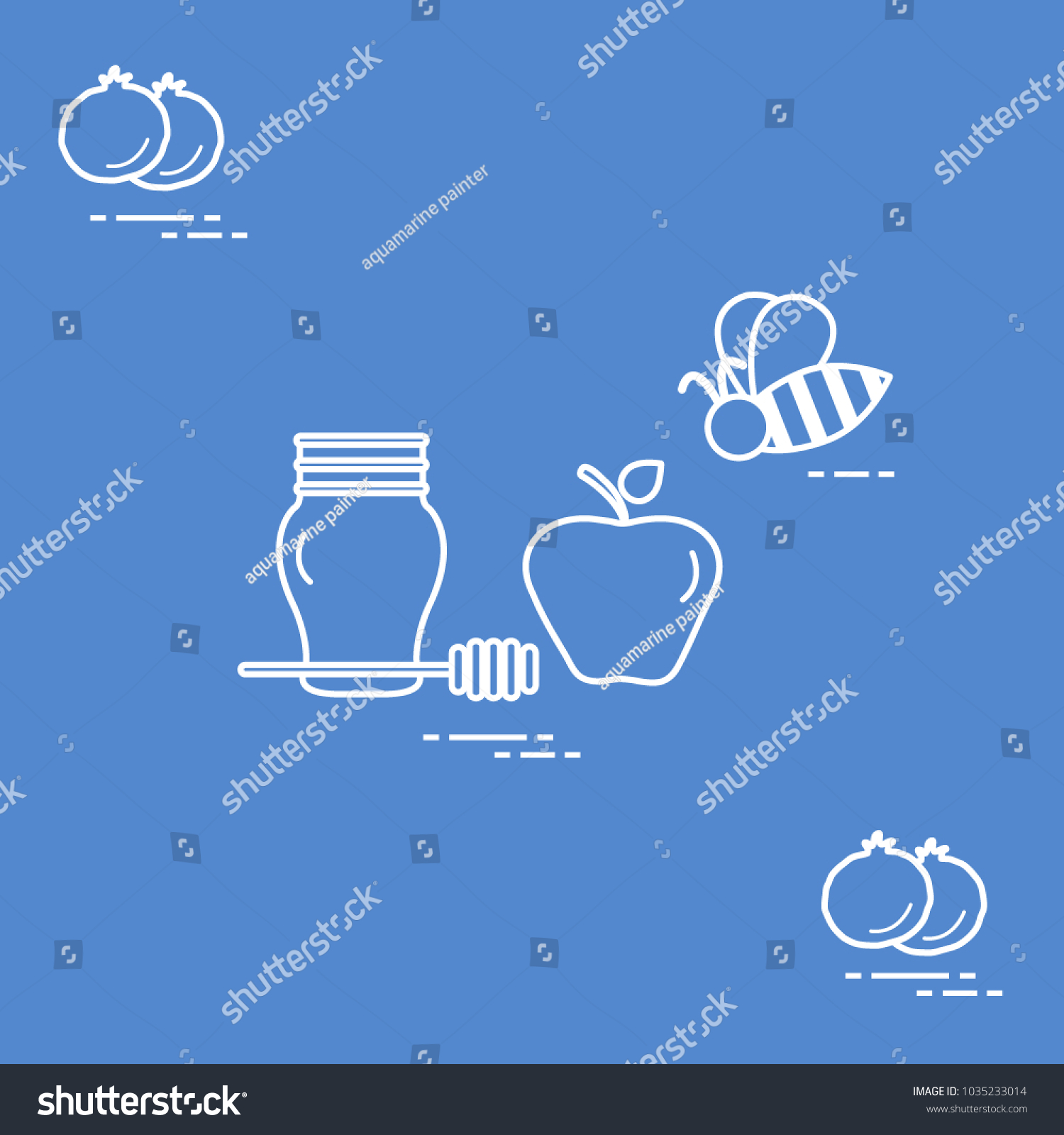 Apple honey rosh hashanah pomegranate bee stock vector 1035233014 apple in honey in rosh hashanah pomegranate bee traditional jewish food and symbols biocorpaavc