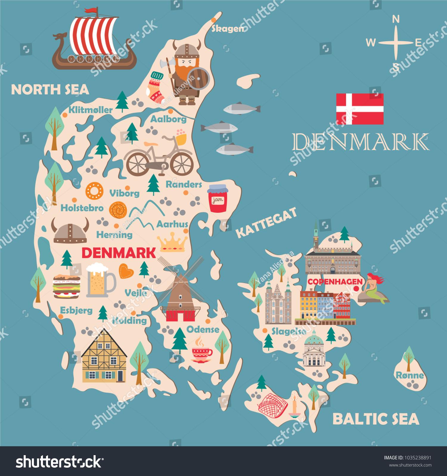 Stylized Map Denmark Travel Illustration Danish Stock Vector ...