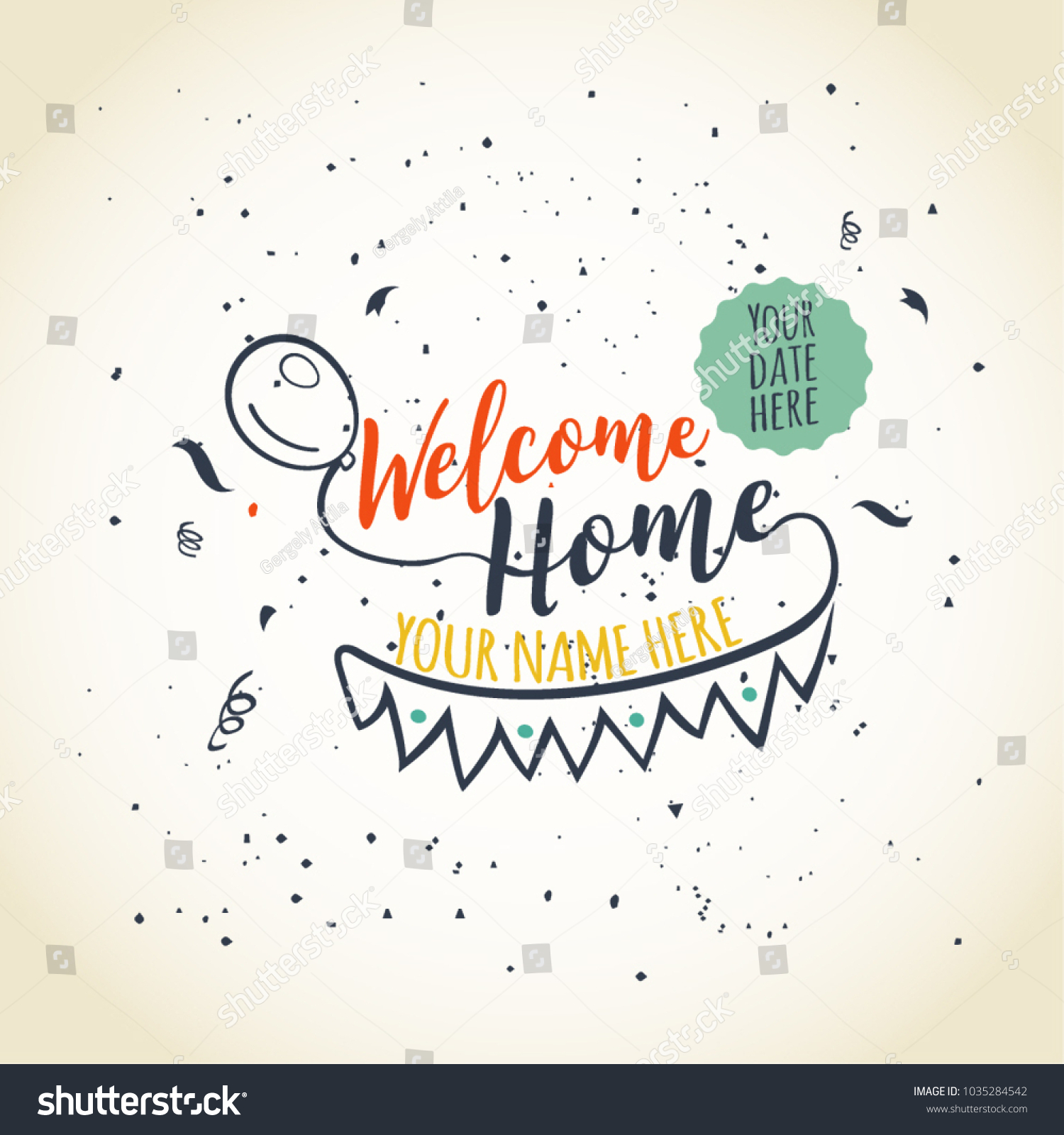 Welcome Home Typographical Greeting Card Design Stock Vector ...