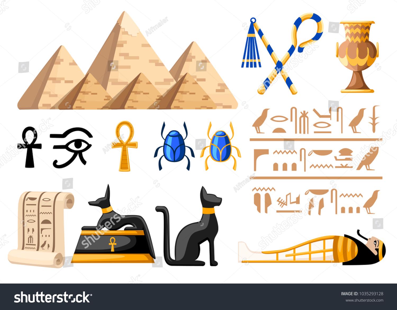 Ancient Egyptian Symbols Decoration Egypt Flat Stock Vector Royalty